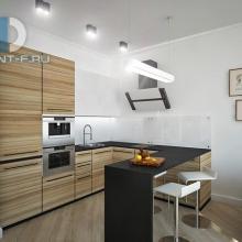 Дизайн интерьера: Кухня-студия в стиле хай-тек