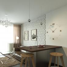 Дизайн интерьера: Квартира-студия в современном стиле