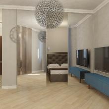 Дизайн интерьера: Квартира-студия с зеркальной перегородкой