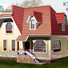 Проект дома: Проект дома КТ-033, 8х9м, сруб из бруса 150х150м