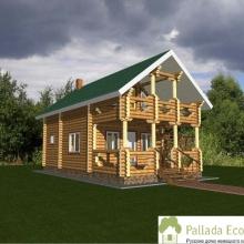 Проект дома: Гостевой дом - баня бревно 200 М-24 94 м кв два этажа