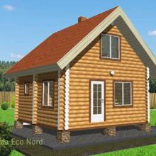 Проект дома: Баня бревно 200 В-338 43кв.м два этажа