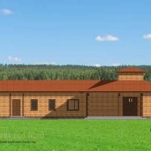 Проект дома: Конюшня на 10 лошадей 389кв.м из бревна