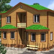 Проект дома: Проект Мансардный брусовой дом с террасой 9×9