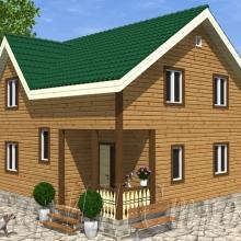 Проект дома: Проект Брусовой дом с поднятым этажом 8×8