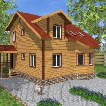 Проект дома: Проект Красивый брусовой дом с эркером 8×8