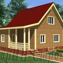 Проект дома: Дом с мансардой и террасой 8x9