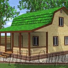 Проект дома: Дом с мансардой из строганного бруса и шикарной открытой террасой 8×9