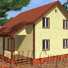 Проект дома: Брусовой дом в полтора этажа с террасой 9×9
