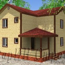 Проект дома: Большой деревянный двухэтажный дом из бруса 7,5×8