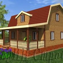 Проект дома: Мансардный брусовой дом с террасой 9×10