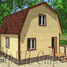 Проект дома: Дом из бруса с мансардным этажом 6×6