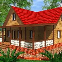 Проект дома: Деревянный дом с террасой из строганного бруса 10,5×12