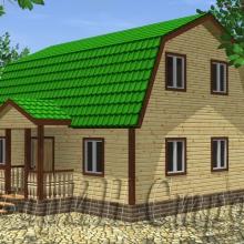 Проект дома: Деревянный дом из строганного бруса с мансардой 7×9