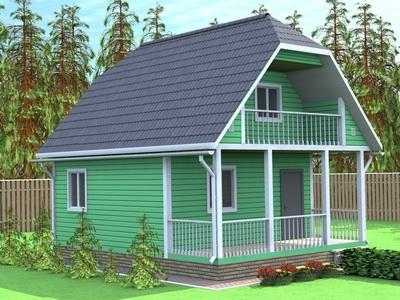 Фото проекта дом 6 на 8 с террасой и балконом. - цена и стом.